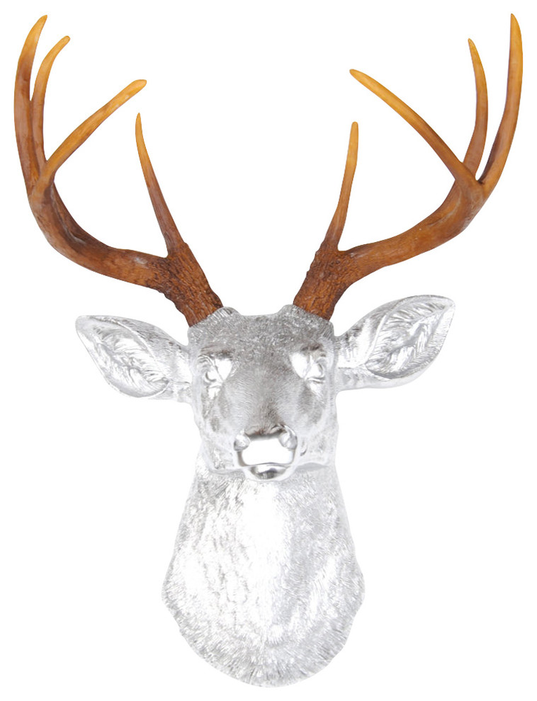 Faux Metallic Chrome Deer Head Wall Decor Natural