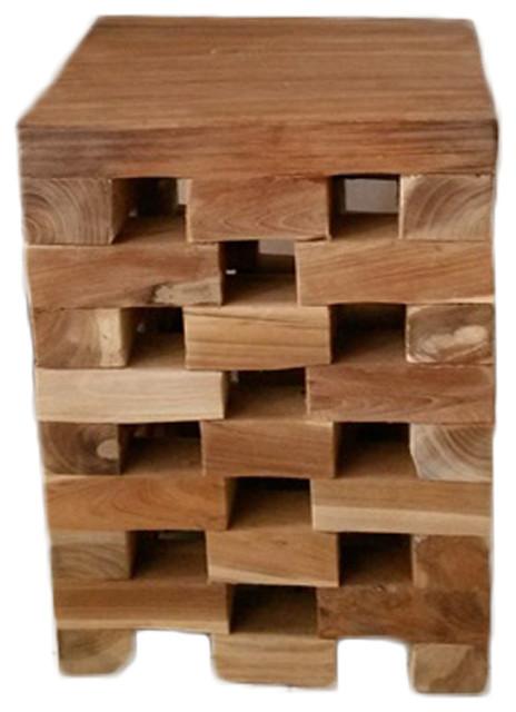 Teak Wood Stool Alexa Square Rustic Accent And Garden Stools