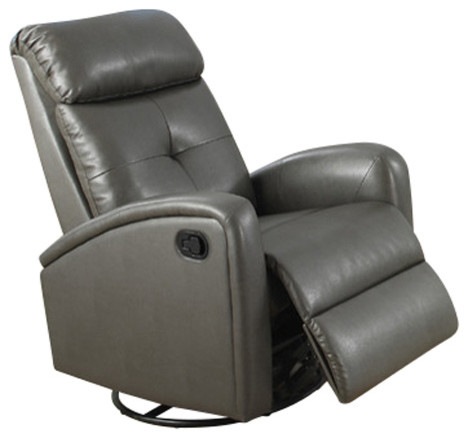 Swivel Gliding Chair, Charcoal Gray Bonded Leather Contemporary Recliner  Chairs