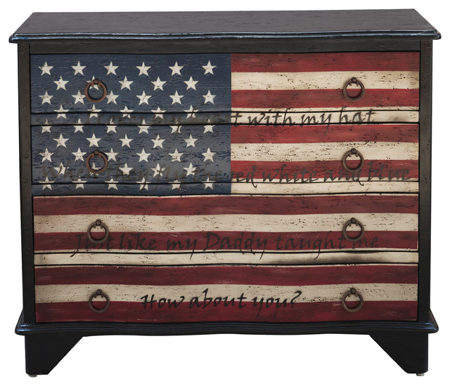 Traditional Styled American Flag Four Drawer Accent Storage Chest.