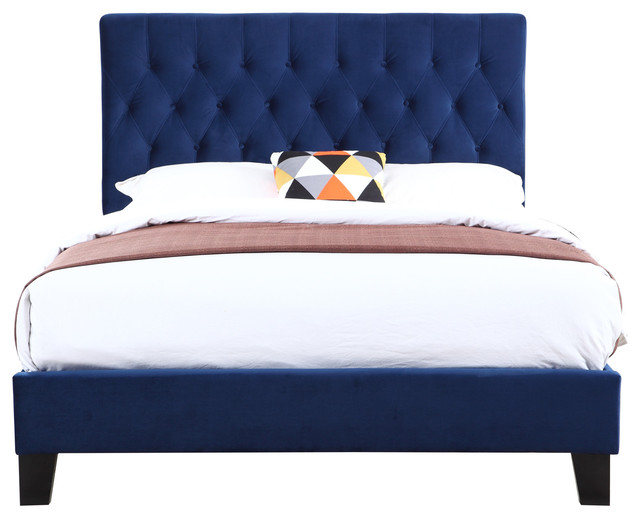 Marlo Tufted Bed Kit, Navy, Queen.