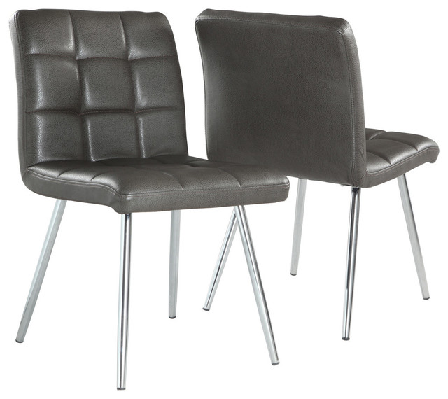 Leather Look Dining Chairs With Chrome Base, Set Of 2, Gray Contemporary
