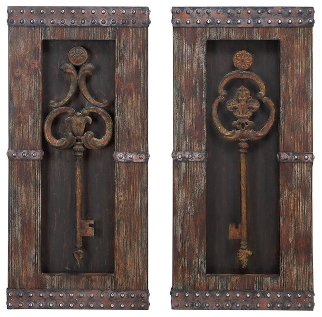 Antique-Style Keys Wood Wall Decor, Set of 2 mediterranean-wall-accents
