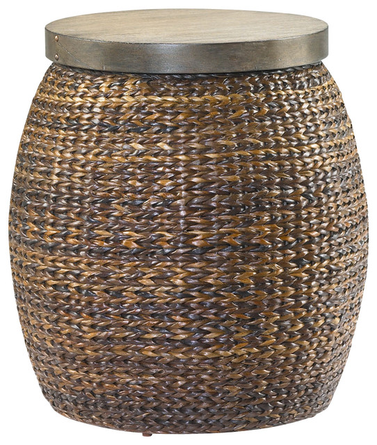 Hidden Treasures Round Accent Basket Table, 090 380 Tropical Side Tables