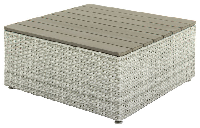 Brisbane Weather Resistant Resin Wicker Square Patio Coffee Table.