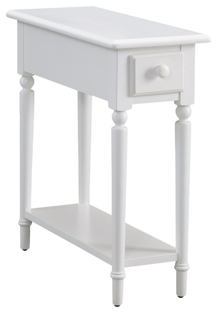 Leick Coastal Notions End Table With Shelf, Orchid White Eclectic Side  Tables