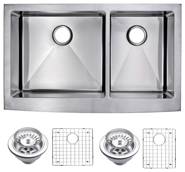 Corner Radius 60/40 Apron Front Sink With Drain, Strainers, & Bottom Grids.
