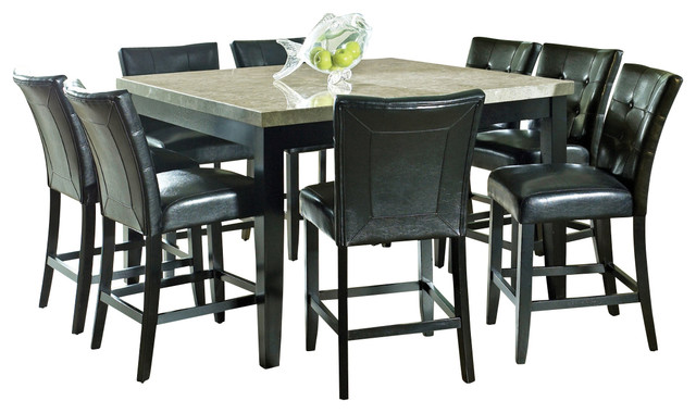 Beau Steve Silver Monarch 9 Piece Marble Top Counter Height Set