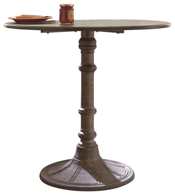 Distressed Black Metal Dining Table Round Top Single Pedestal Leg, Small  Traditional Dining