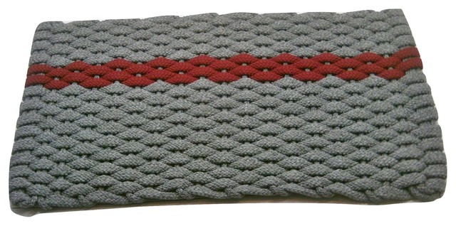 Rockport Rope Door Mat, 20x30, Gray With Offset Rose Stripe Gray Insert.