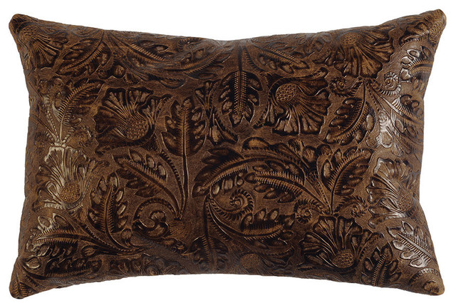 Cosmo Leather Pillow, 12x18 With Fabric Back.