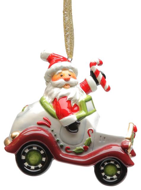 Santa Driving Car Ornament - Contemporary - Christmas Ornaments ...