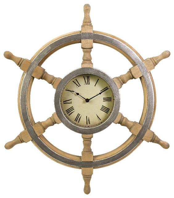 wood ship nautical beige antique wheel clock wall decor imax 47243 beach style wall clocks. Black Bedroom Furniture Sets. Home Design Ideas