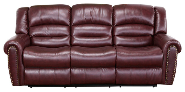 Chelsea Burgundy Leather Sofa Contemporary Sofas by Meridian