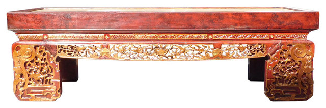 Chinese Fujian Scenery Carving Daybed Couch Chaise Hcs1471