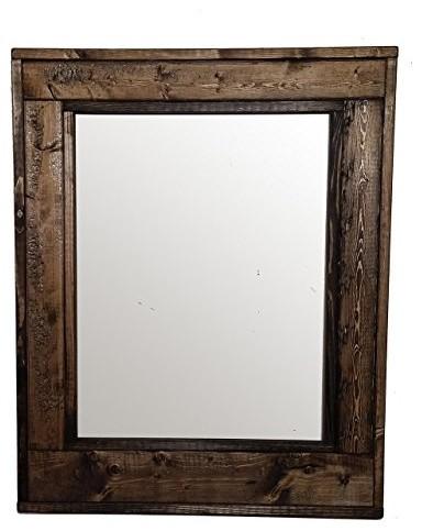 "Herringbone Stained Vanity Mirror, Dark Walnut, 24""x30"", Vertical."