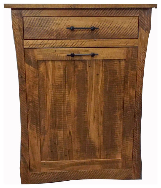 Amish Furniture Oak Kitchen Trash Bin Tilt Out Drawer 13 Gallon Rustic Trash Cans By Educational Electronics Inc