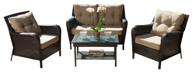 Haiden Outdoor Brown Wicker Sofa 4 Piece Set  Contemporary Outdoor Lounge Sets