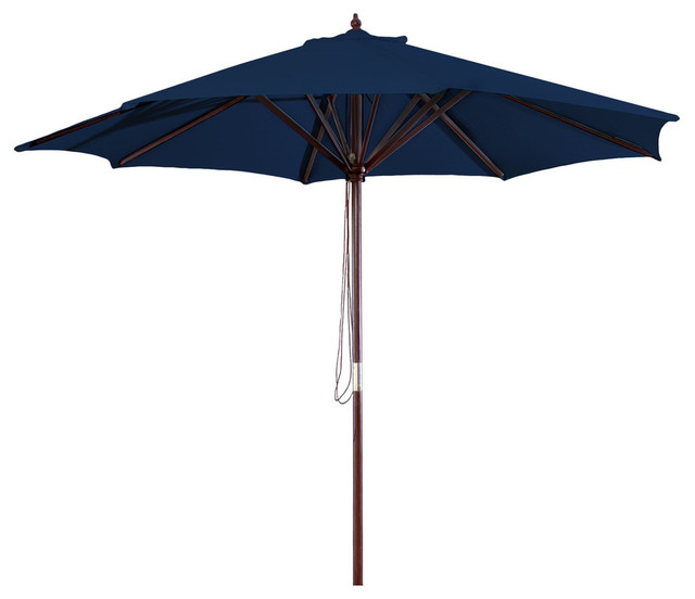 Navy Blue 9&x27; Outdoor Patio Umbrella With Wood Frame And Pulley.