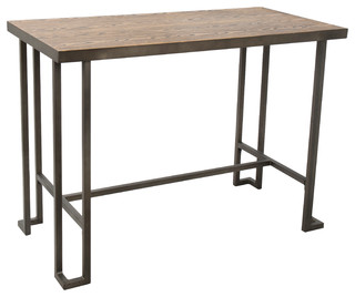 Roman Industrial Counter Table, Antique & Brown Wood