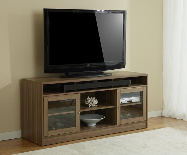 Jesper Office Walnut Tv Stand With Soundbar Shelf Contemporary Entertainment Centers And
