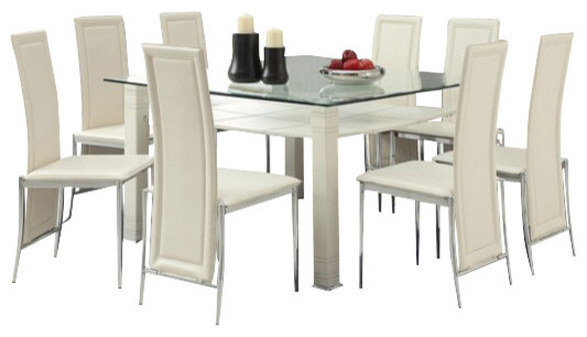 9 Piece Riggan Collection Modern Style Cream Leather