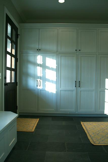 mudroom lockers with slate floor