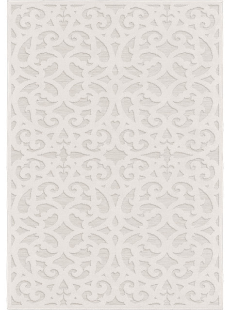 """Indoor/Outdoor Sculpted Seaborn High-Low Area Rug, Ivory, 7'9""""x10'10"""""""