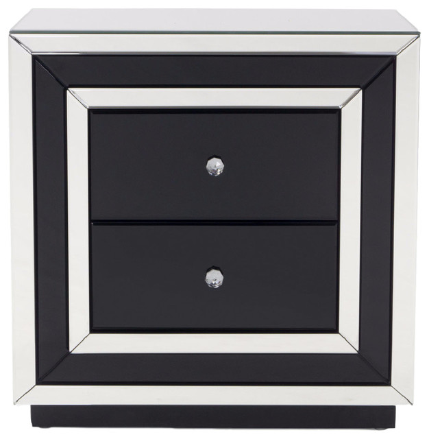 Malibu Contemporary Mirrored 2 Drawer Accent Chest Nightstands And Bedside Tables By Zuri Furniture Houzz