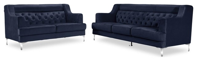 Zara Fabric Tufted Sofa And Loveseat With Chrome Legs, Navy Blue, 2 Piece