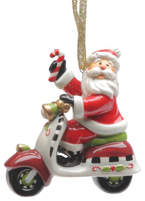 Santa Riding Scooter Ornament Contemporary Christmas