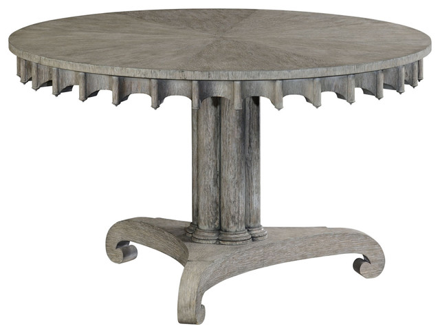Jonathan Charles Longwood Gray Oak Table Traditional Console Tables