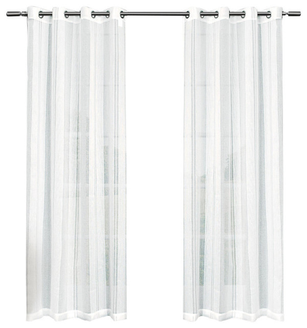 """Apollo Sheer Grommet Top Window Curtain Panels, 50"""" By 84"""", Set Of 2, White."""