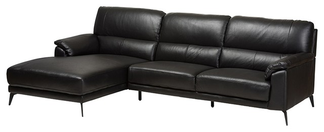 Radford Modern Black Leather Left Facing Chaise 2-Piece Sectional Sofa,  Black