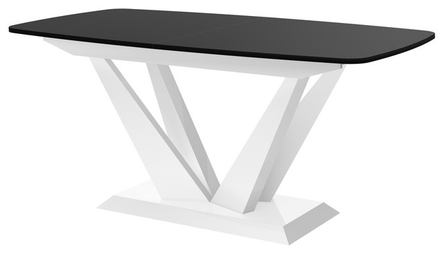 PERFETTO Dining Table With Extension, Black/White