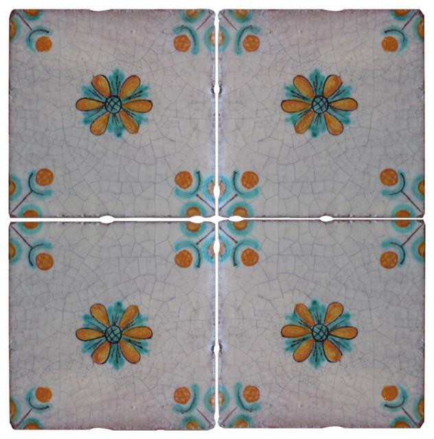 Piastrelle Maiolica Mediterranean Terracotta Tiles, Set of 4