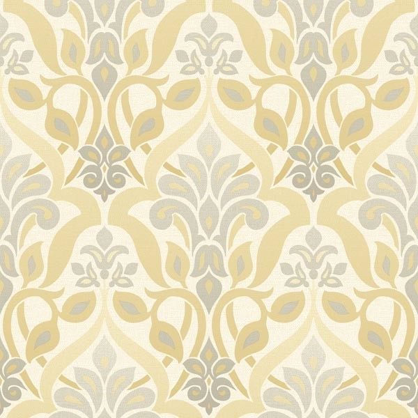 fusion yellow ombre damask wallpaper bolt contemporary wallpaper - Contemporary Damask Wallpaper