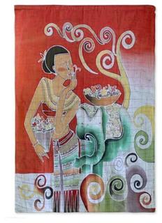 Novica Lanna Girl Cotton Batik Wall Hanging Asian Tapestries By Novica