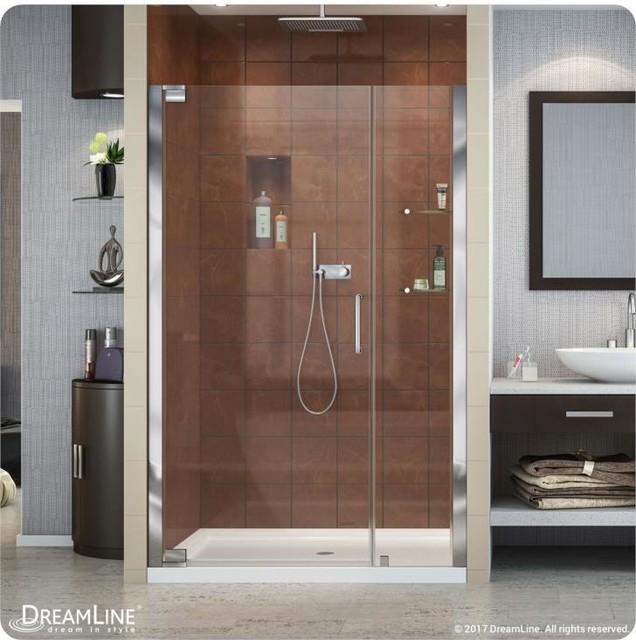 """DreamLine Elegance Frameless Pivot Shower Door, Chrome, 44.25""""-46.25"""""""