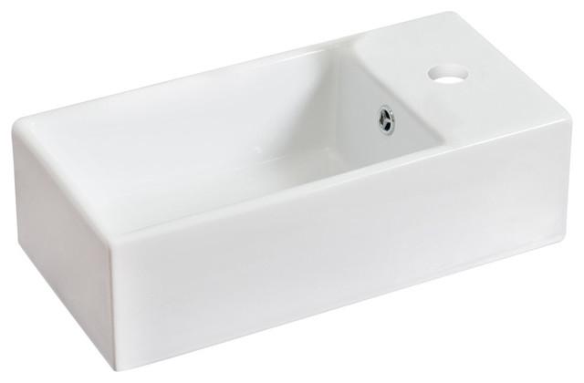 Rectangle Vessel Set, White Color With Single Hole Cupc Faucet.