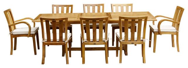 9-Piece Rectangular Teak Wood Boston Table/Chair Set With Cushions
