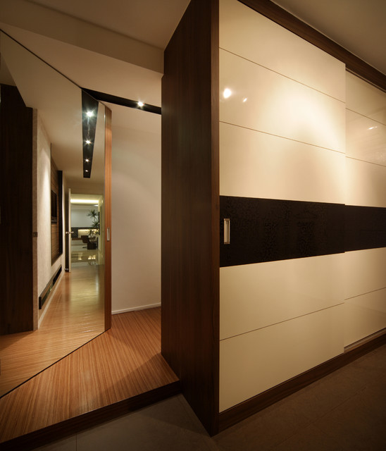 Modern apartment in singapore with a clean design modern closet