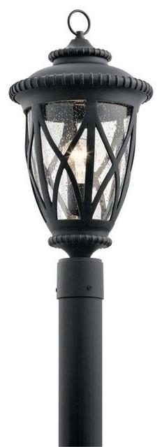 Admirals Cove Outdoor Post Mount 1-Light, Textured Black.