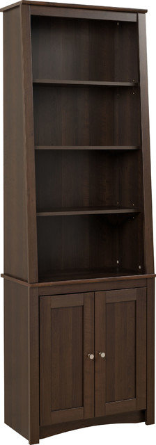 Tall Slant-Back Bookcase With 2 Shaker Doors, Espresso.