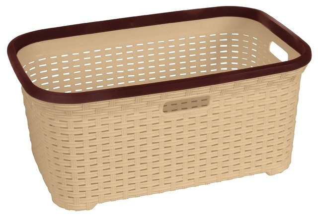 Rattan 1 Bushel Laundry Basket, Beige Base And Brown Trim.