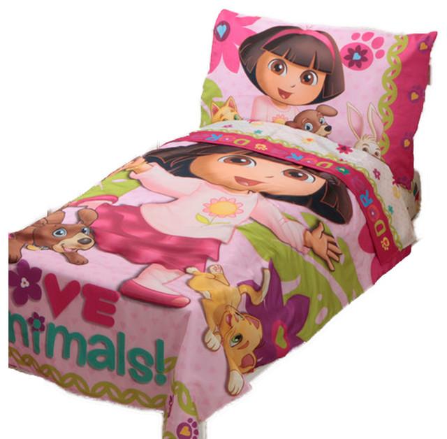 Dora The Explorer Bedroom Set Part - 18: Dora Explorer Toddler Bedding Set Love Animals Bed Contemporary-toddler- Bedding