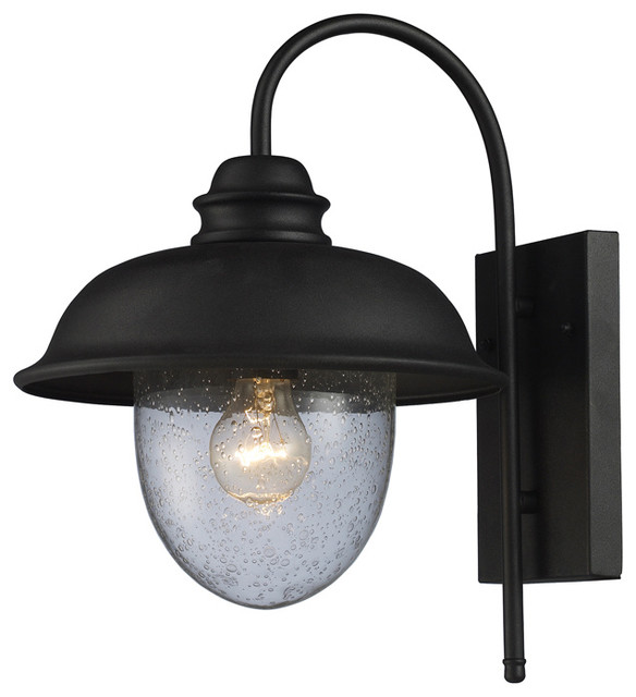 Streeside Cafe 1-Light Outdoor Sconce In Matte Black - Farmhouse - Outdoor Wall Lights And ...