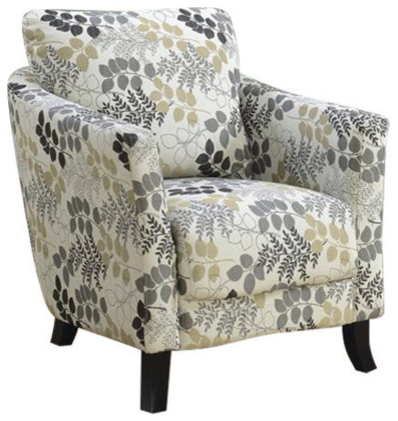 Monarch Fabric Floral Accent Chair, Beige and Black by Monarch