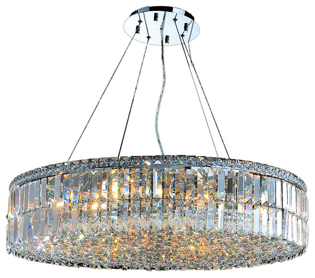 Cascade 18-Light Clear Crystal Round Chandelier Chrome 32  chandeliers  sc 1 st  Houzz & Cascade 18-Light Clear Crystal Round Chandelier Chrome 32 ... azcodes.com