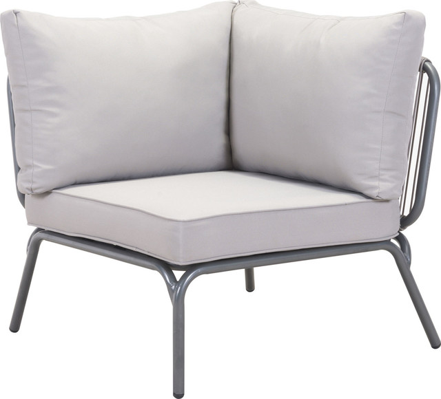 Pier corner single gray transitional outdoor lounge for Grey single chair